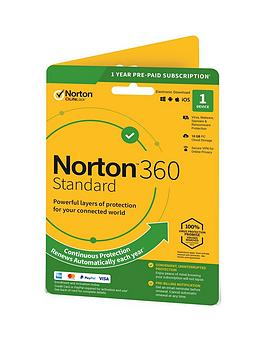Norton    360 Standard 10Gb In 1 User 1 Device 12Mo Std Ret Enr Card Dvdslv