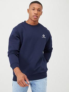 Converse Converse Star Chevron Embroidered Crew Neck Sweatshirt - Navy Picture