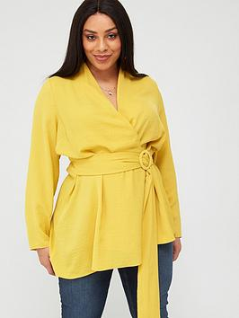 V by Very Curve V By Very Curve Wrap Belted Asymmetric Blouse - Yellow Picture