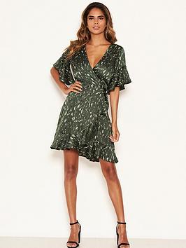 AX Paris Ax Paris Printed Satin Wrap Dress - Green Picture