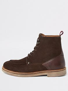 river-island-dark-brown-suede-apron-toe-lace-up-boots