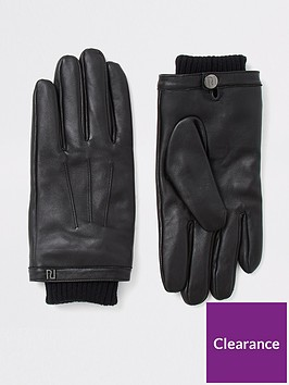 river-island-black-leather-cuffed-gloves