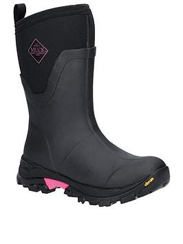 Muck Boots Muck Boots Arctic Ice Mid Height Wellington Boots - Black/Pink Picture