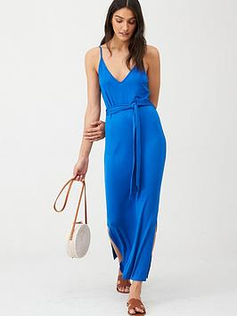 V by Very V By Very Strappy Belted Midi Dress - Blue Picture