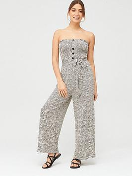 V by Very V By Very Jersey Shirred Crop Jumpsuit - Animal Print Picture