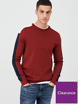 river-island-burgundy-slim-fit-long-sleeve-stripe-jumper