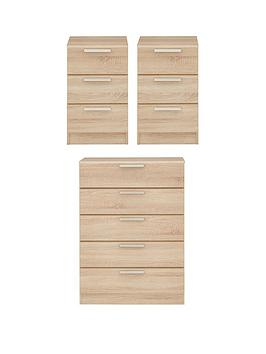 Very Waterford Ready Assembled 3 Piece Package - Chest Of 5 Drawers And 2  ... Picture