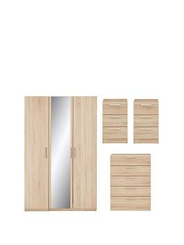 Very Waterford Part Assembled 4 Piece Package - 3 Door Mirrored Wardrobe,  ... Picture