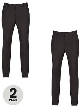 V by Very V By Very 2 Pack Skinny Trousers - Black Picture
