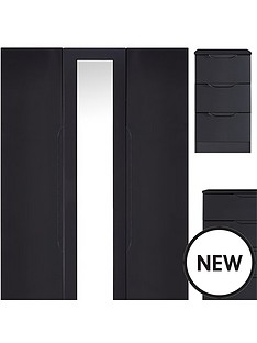 monaco-4-piece-gloss-package-3-door-mirrored-wardrobe-5-drawer-chest-and-2-bedside-chests