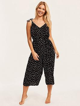 Figleaves   Sorrento Spot Strappy Culotte Jumpsuit - Black