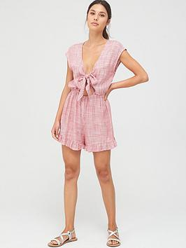 Figleaves Figleaves Cast Away Tie Front Stripe Playsuit Picture