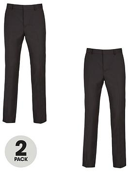 V by Very V By Very 2 Pack Regular Trousers - Black Picture