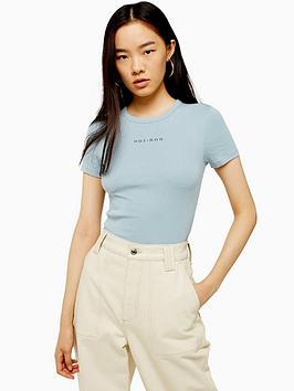 Topshop Topshop Oui Non Mini Motif T-Shirt - Blue Picture