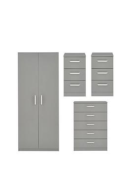 Very Sanford High Gloss Ready Assembled 4 Piece Package - 2 Door Wardrobe,  ... Picture
