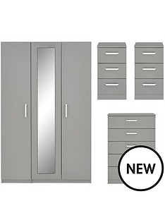 sanford-high-gloss-4-piece-package-3-door-mirrored-wardrobe-chest-of-5-drawers-and-2-bedside-chests