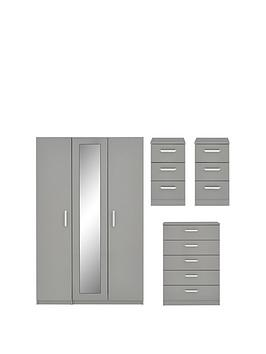 sanford-part-assemblednbsphigh-gloss-4-piece-package-3-door-mirrored-wardrobe-chest-of-5-drawers-and-2-bedside-chests