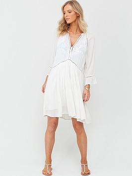 Figleaves Figleaves Icon Milan Long Sleeve Kaftan Ladder Dress - White Picture