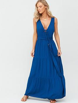 Figleaves   Brisbane Lace Up Front Maxi Dress - Navy Blue