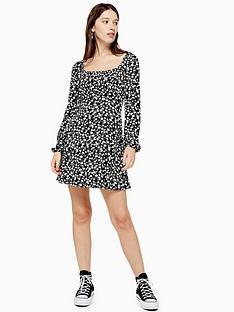 topshop-topshop-floral-blousan-mini-dress-black