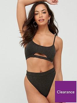 south-beach-metallic-rib-cut-out-bikini-set-blackgoldnbsp
