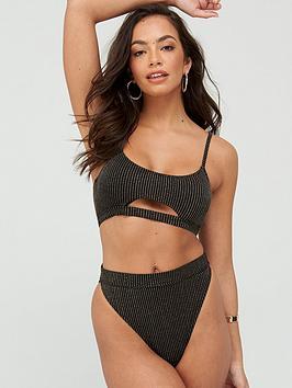 South Beach South Beach Metallic Rib Cut Out Bikini Set - Black/Gold Picture