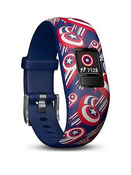 Garmin   Vivofit Jr. 2 - Marvel Captain America Fitness Activity Tracker For Kids - Adjustable Band - Multicolour