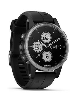 Garmin Fenix 5S Plus Compact Multisport Watch With Music, Maps And Garmin Pay - Silver With Black Band