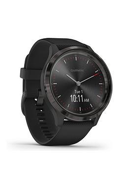 Garmin Garmin Vivomove 3 Hybrid Smartwatch - Black Silicone Strap With  ... Picture