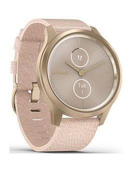 Garmin Garmin Vivomove Style Hybrid Smartwatch - Blush Pink Nylon With  ... Picture