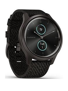 garmin-vivomove-style-hybrid-smartwatch-black-pepper-nylon-with-slate-hardware