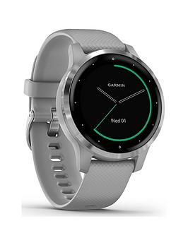 Garmin  Vivoactive 4S Smaller-Sized Gps Smartwatch, Features Music, Body Energy Monitoring, Animated Workouts, Pulse Ox Sensors And More - Powder Gray/Silver