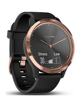 Garmin Garmin Vivomove Hr Hybrid Smart Watch - Rose-Gold With Black Band Picture