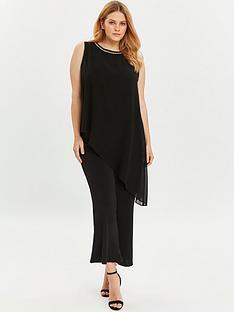 evans-sparkle-trim-overlay-jumpsuit-black
