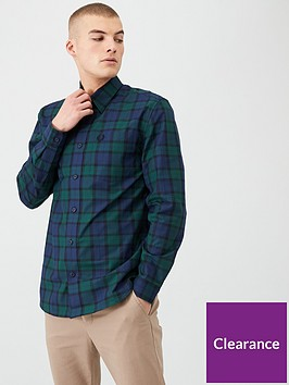 fred-perry-button-through-tartan-shirt-navygreen