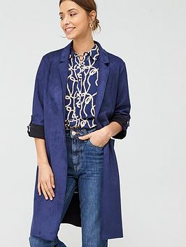 V by Very V By Very Suedette Chuck On Coat - Navy Picture