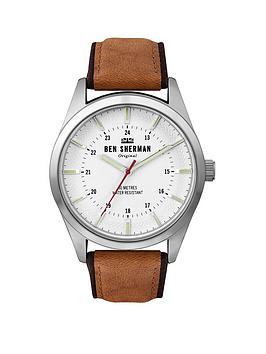 ben-sherman-ben-sherman-tan-leather-strap-watch-with-matt-white-dial