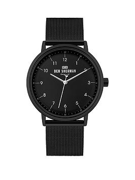 Ben Sherman   Black Stainless Steel Mesh Strap With Black Dial