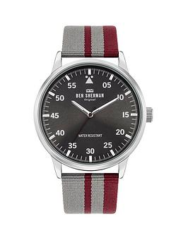 ben-sherman-daltrey-sport-cool-grey-and-red-strap-watch-with-grey-sunray-dial
