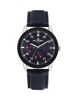 Ben Sherman Ben Sherman Navy Leather Strap With Navy Sunray Dial