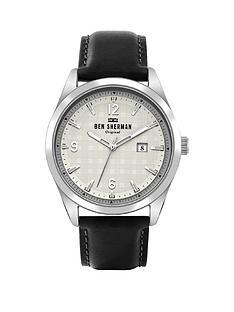 ben-sherman-ben-sherman-black-leather-strap-with-checked-printed-detail-dial