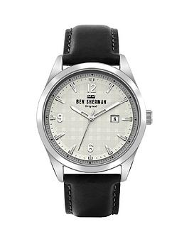 Ben Sherman Ben Sherman Black Leather Strap With Checked Printed Detail Dial