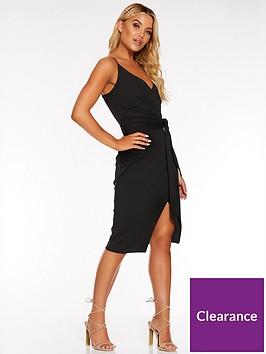 quiz-scuba-crepe-wrap-front-strappy-midi-dress-black