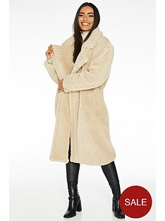 quiz-teddy-faux-fur-long-length-jacket-cream