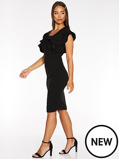 quiz-scuba-crepe-double-frill-sleeve-squarenbspneck-midi-dress-black