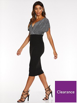 quiz-scuba-crepe-batwing-ruched-midi-dress-black-silver