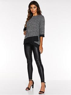 quiz-light-knit-chiffon-hem-34-sleeve-necklace-top-greyblack