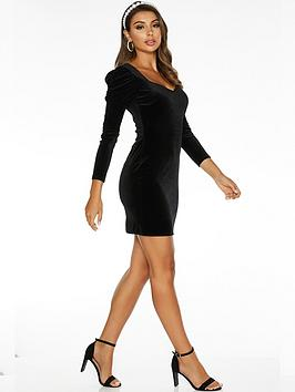 Quiz Quiz Sam Faiers Puff Sleeve Velvet Long Sleeve Bodycon Dress - Black Picture