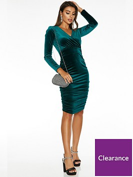 quiz-quiz-x-sam-faiers-long-sleeve-wrap-front-ruched-skirt-midi-dress-emerald