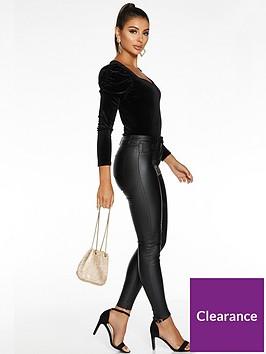 quiz-sam-faiers-puff-sleeve-velvet-long-sleeve-bodysuit-black